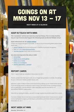 Goings On at MMS Nov 13 - 17