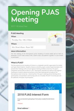Opening PJAS Meeting