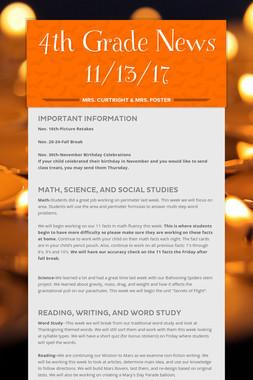 4th Grade News 11/13/17