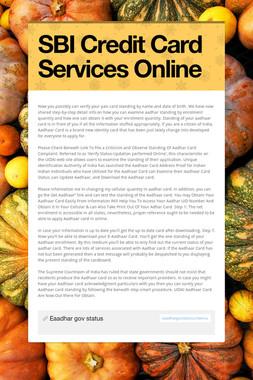 SBI Credit Card Services Online