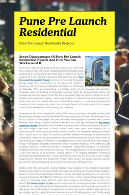 Pune Pre Launch Residential