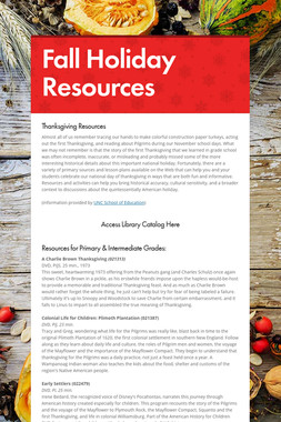 Fall Holiday Resources