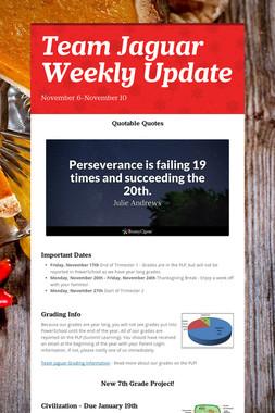 Team Jaguar Weekly Update