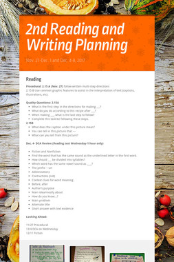 2nd Reading and Writing Planning