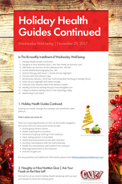 Holiday Health Guides Continued