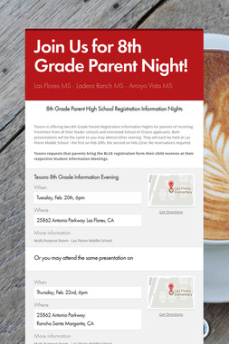 Join Us for 8th Grade Parent Night!