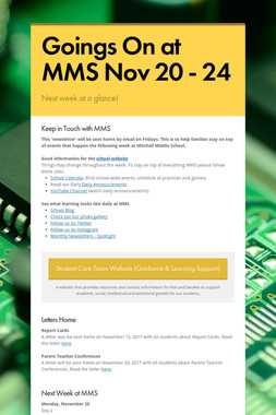Goings On at MMS Nov 20 - 24