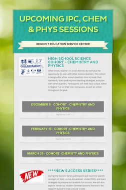 Upcoming IPC, Chem & Phys Sessions
