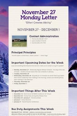 November 27 Monday Letter