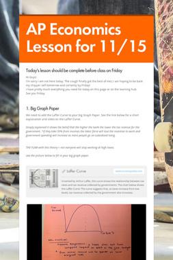 AP Economics Lesson for 11/15