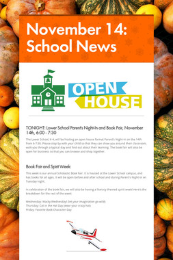 November 14: School News