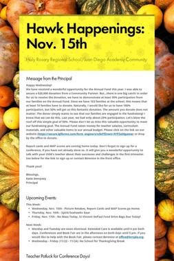 Hawk Happenings: Nov. 15th