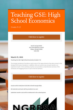 Economics Worshops, Hosted by GCEE