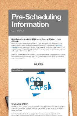Pre-Scheduling Information