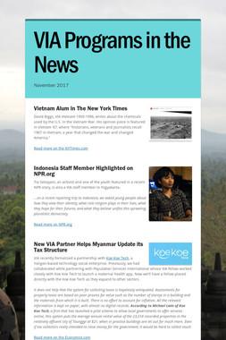 VIA Programs in the News