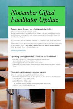November Gifted Facilitator Update