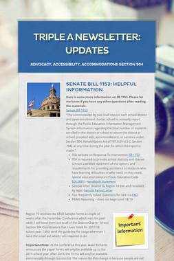Triple A Newsletter: Updates