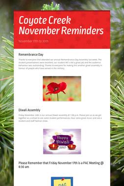 Coyote Creek November Reminders