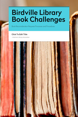 Birdville Library Book Challenges