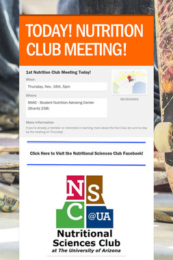 TODAY! NUTRITION CLUB MEETING!