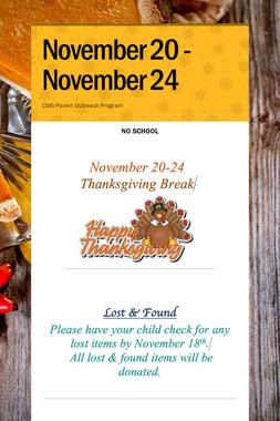 November 20 - November 24