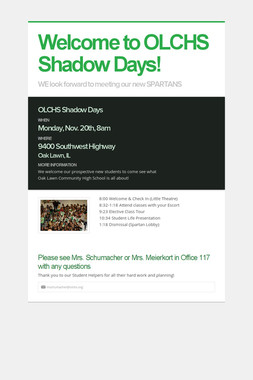 Welcome to OLCHS Shadow Days!