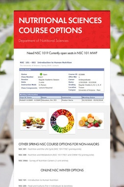 NUTRITIONAL SCIENCES COURSE OPTIONS