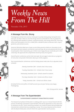 Upcoming Events At The Hill
