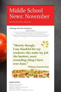 Middle School News: November