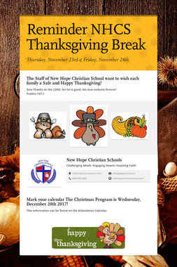 Reminder NHCS Thanksgiving Break