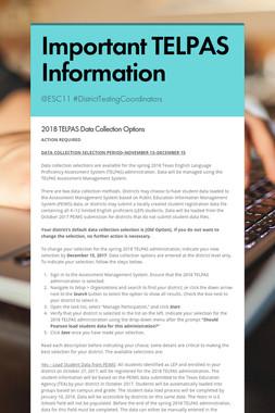 Important TELPAS Information