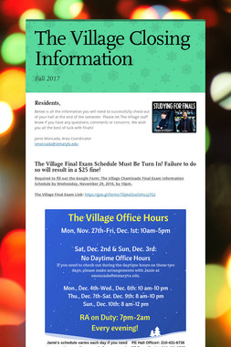 The Village Closing Information