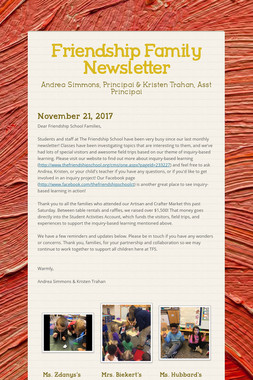 Friendship Family Newsletter