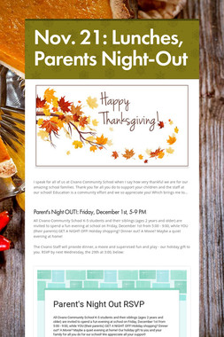 Nov. 21: Lunches, Parents Night-Out