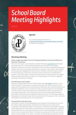 School Board Meeting Highlights