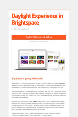 Daylight Experience in Brightspace
