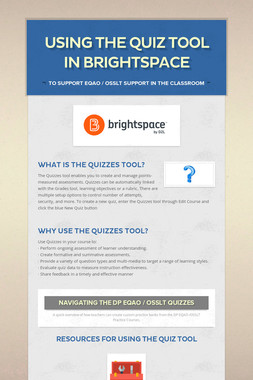 Using the Quiz Tool in Brightspace