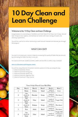 10 Day Clean and Lean Challenge