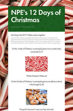 NPE's 12 Days of Christmas