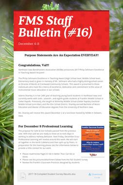 FMS Staff Bulletin (#16)