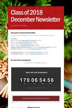 Class of 2018 December Newsletter