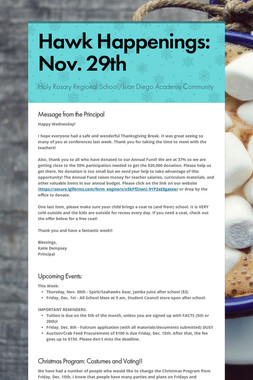 Hawk Happenings: Nov. 29th