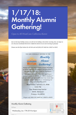 1/17/18: Monthly Alumni Gathering!