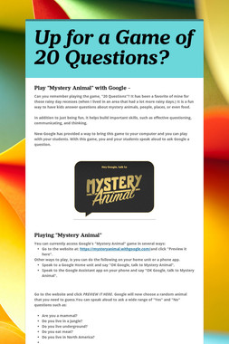 Up for a Game of 20 Questions?