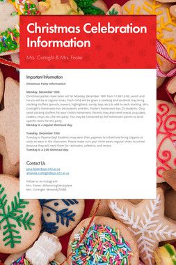 Christmas Celebration Information