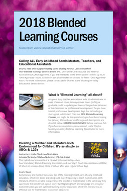 2018 Blended Learning Courses