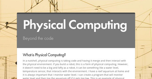Physical Computing | Smore Newsletters