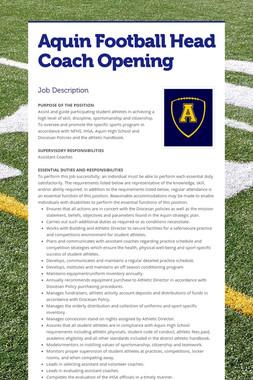 Aquin Football Head Coach Opening