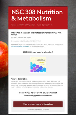 NSC 308 Nutrition & Metabolism