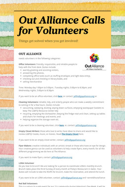 Out Alliance Calls for Volunteers